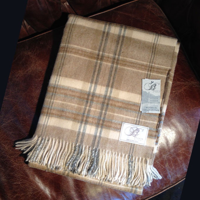 Traditional Soft Merino Lambswool Plaid HEATHER CHECK beige-blau