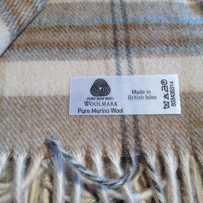 Traditional Soft Merino Lambswool Plaid HEATHER CHECK beige-blau